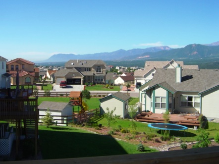 View looking south from a homeowners deck in Jackson Creek, Monument Colorado